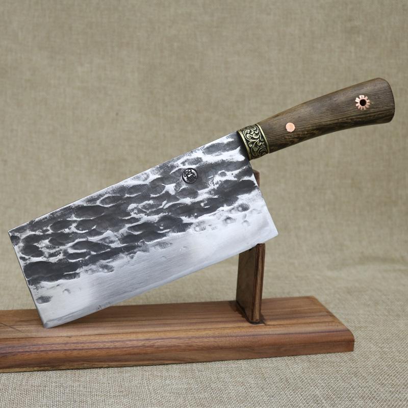 龙泉螭龙手工锻打菜刀不锈钢家用切片刀厨师商用片刀老式厨房刀具