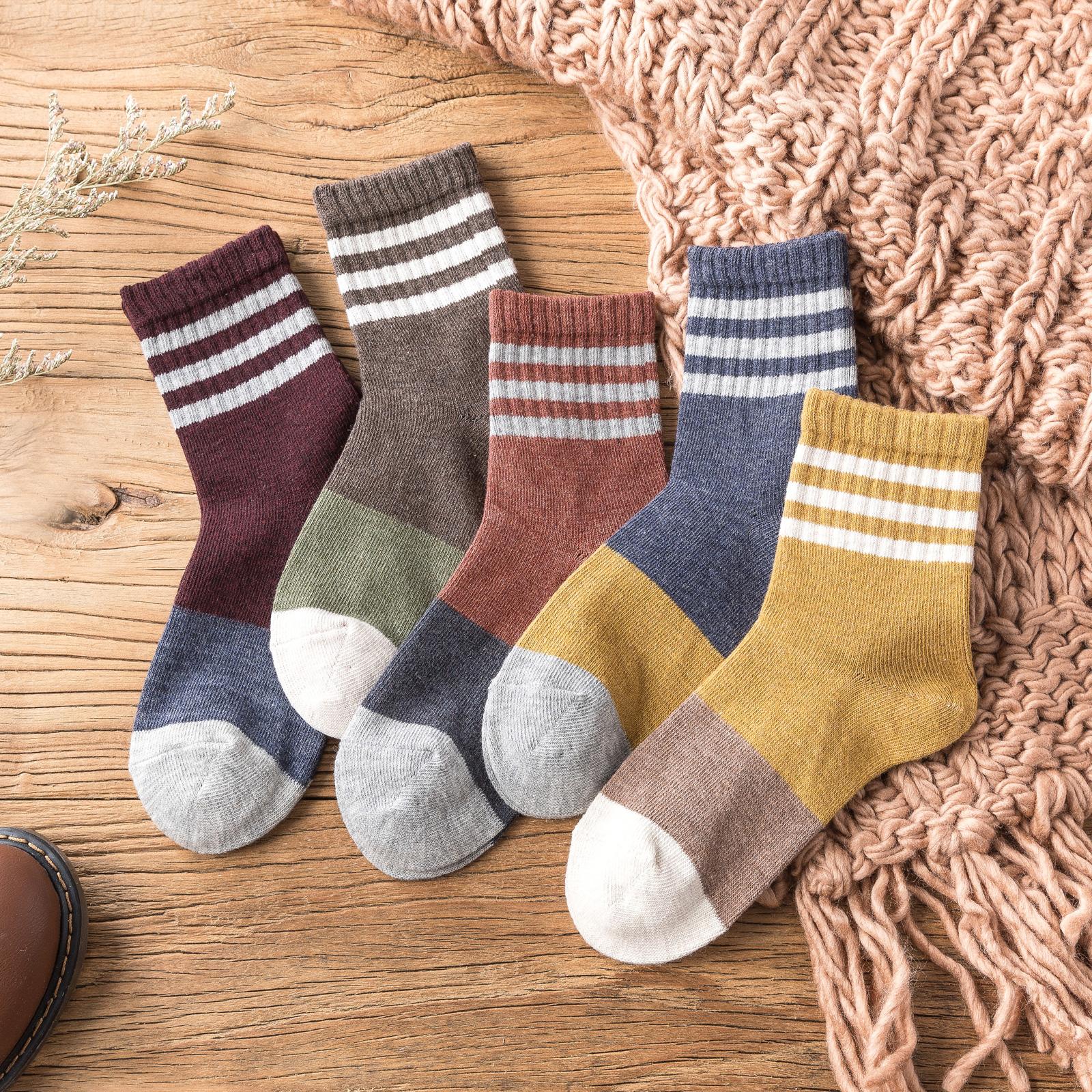 长筒袜子女中筒袜条纹日系秋冬季纯棉中长款百搭ins潮全棉堆堆袜