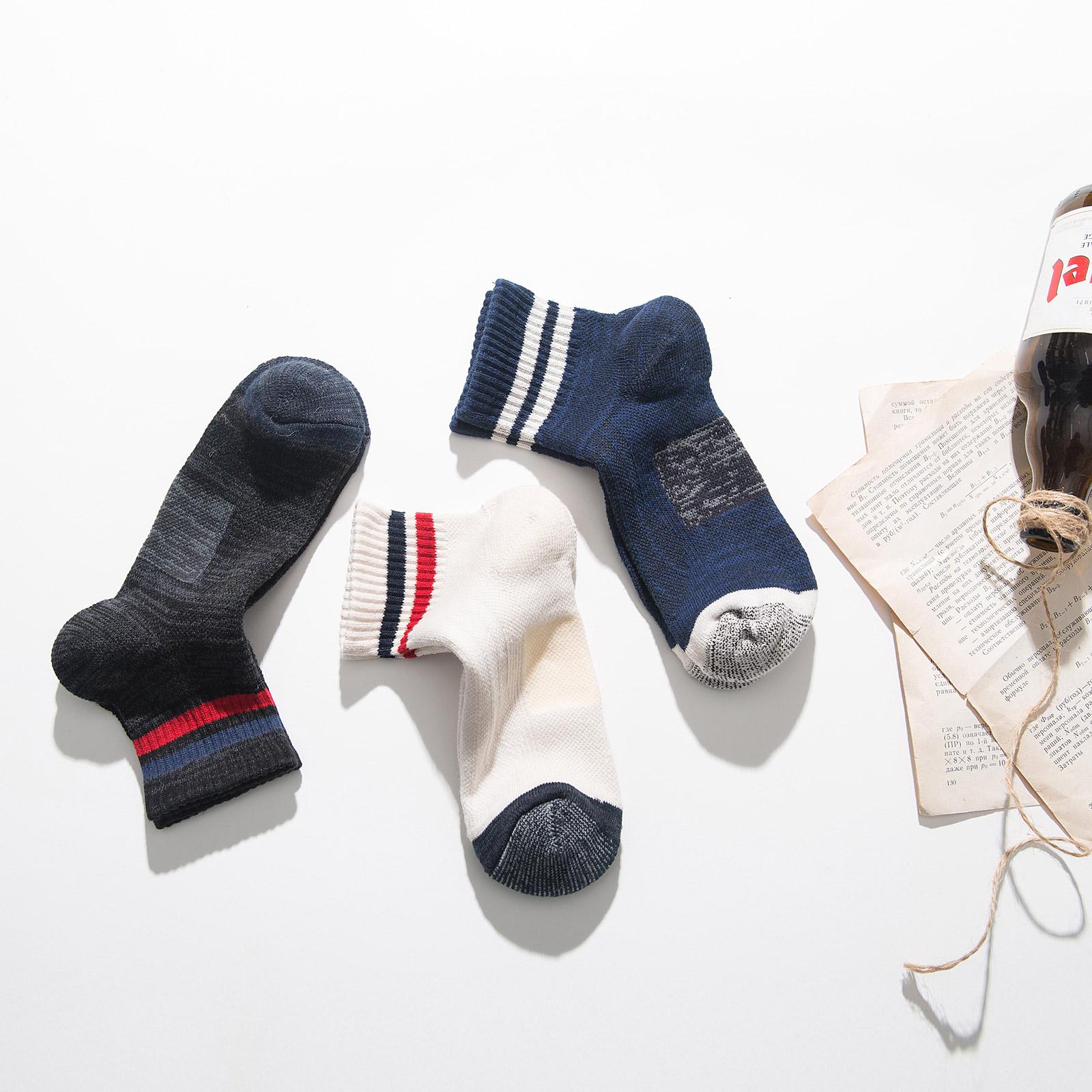 袜子男士冬季纯棉加厚中长筒毛巾袜潮加厚保暖条纹运动加绒毛圈袜