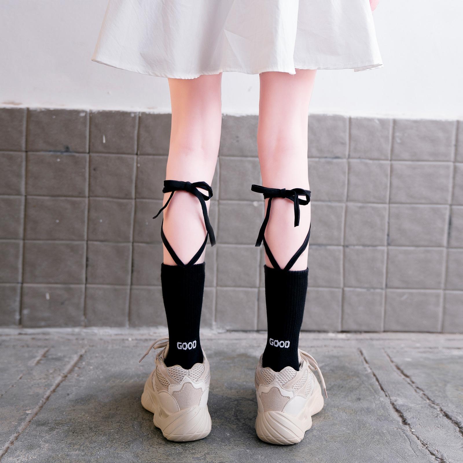 lolita交叉绑带袜子女ins潮秋冬小腿袜过膝长筒袜日系黑色中筒袜
