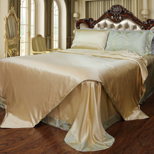 Silk water brand silk fabric solid color welt bed sheet silk four piece suit silk bedding