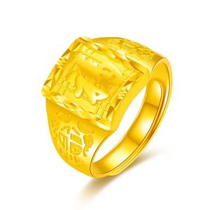 Gold Ring Men's 999 Gold Blessings For Boyfriend Ring Man For Husband For Father Fortune Ring