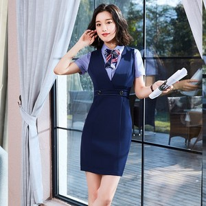Beautician overalls dress uniform short-sleeved catering hotel front desk professional dress female summer stewardess
