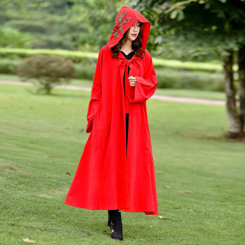 春装 新款 中国 斗篷 披风 旅游 拍照 风衣 绣花 外套