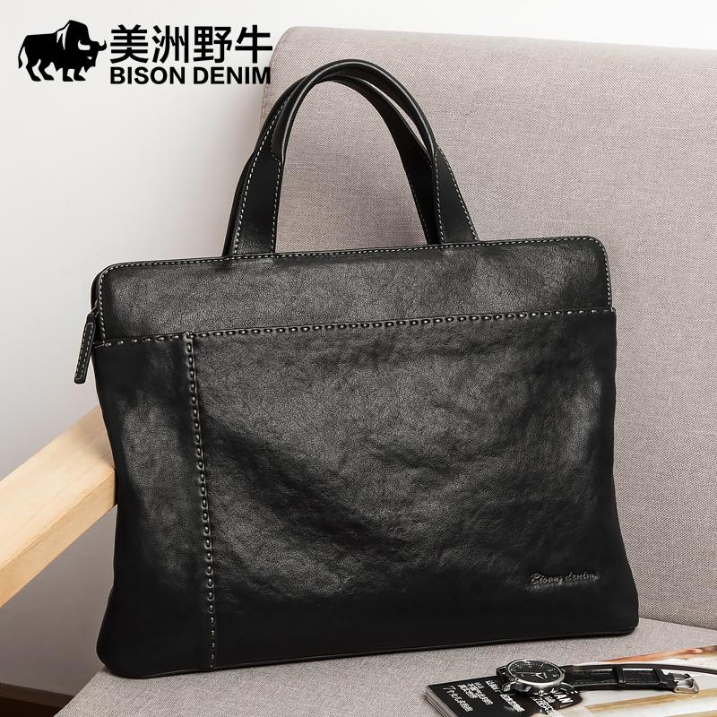 [¥439]美洲野牛真皮男包商务男手提包牛皮横款公文包电脑包休闲男士包包