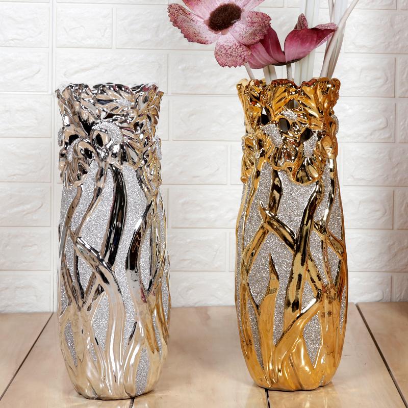 陶瓷落地金色银色时尚欧式现代创意客厅摆件装饰品干花绢花大花瓶