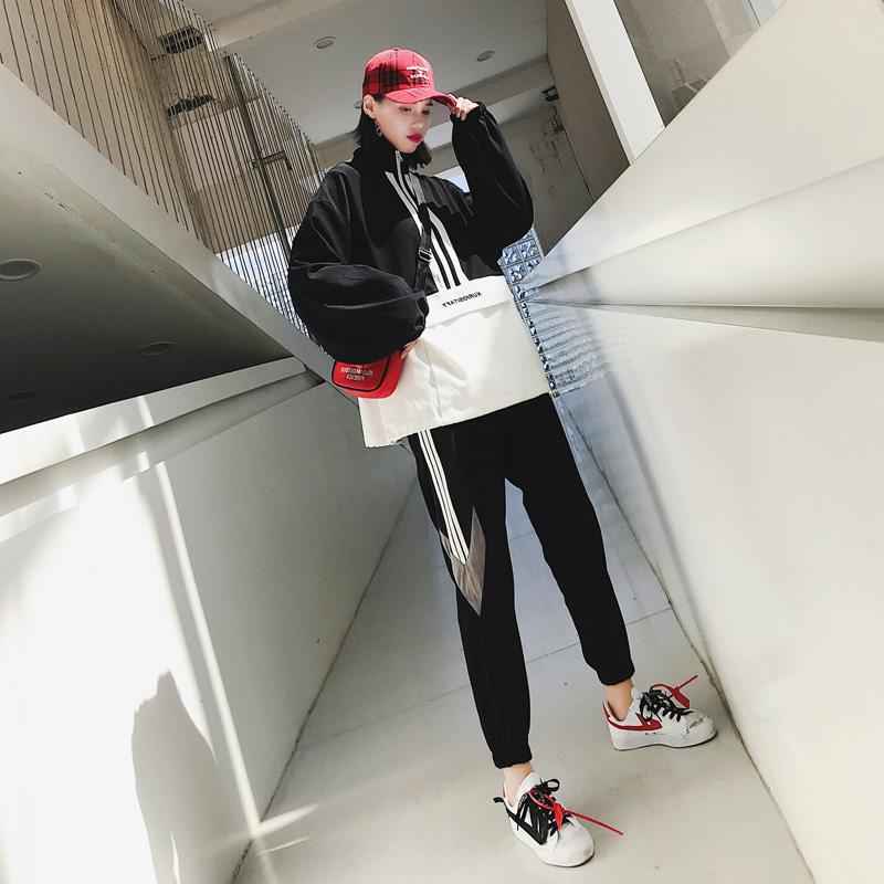 2019女装春秋新款套头大码女胖mm时尚运动显瘦心机两件套套装潮牌
