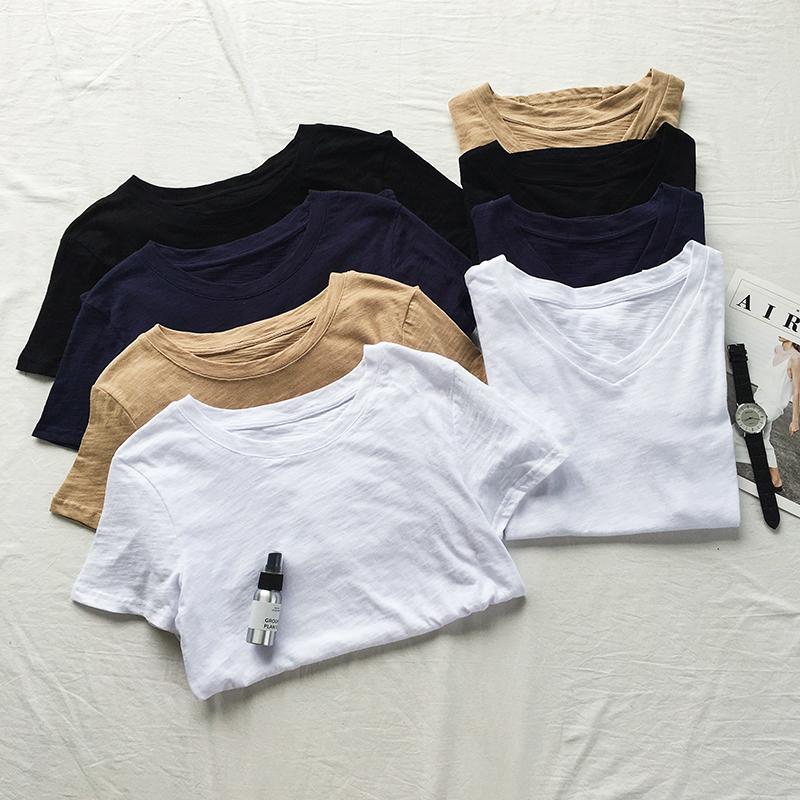 纯白色竹节棉短袖t恤女夏季V领宽松简约百搭纯棉黑色打底半袖体恤