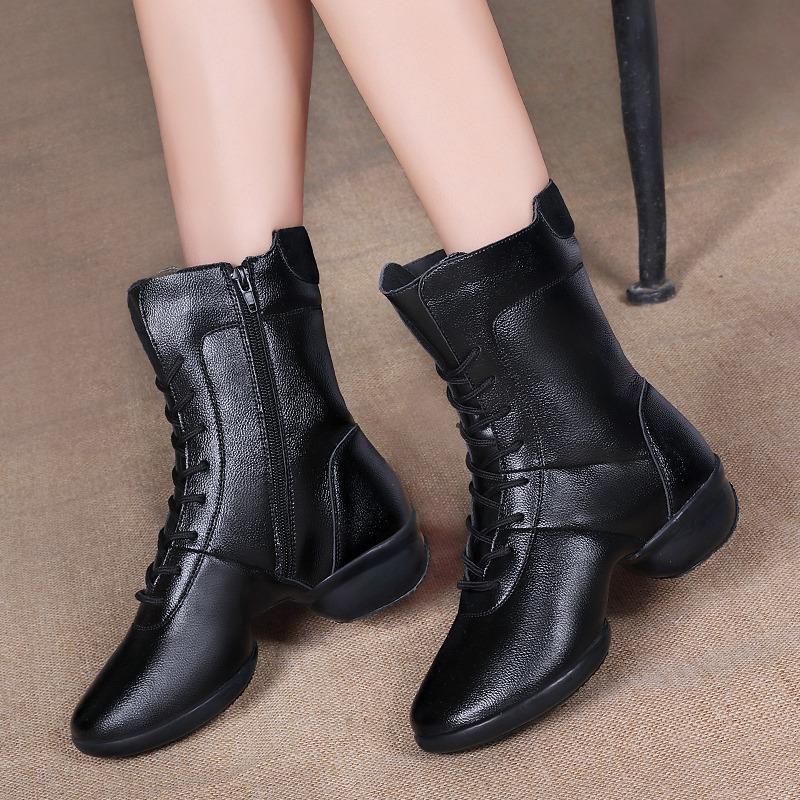 哈罗曼秋冬季舞蹈鞋女 真皮广场舞鞋新款 舞蹈靴软底水兵跳舞靴子