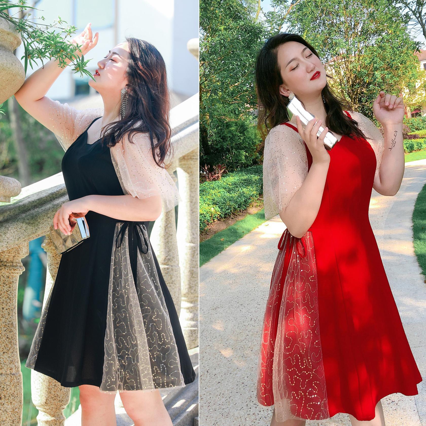 雪纺裙胖mm连衣裙洋气显瘦潮