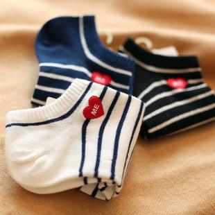 夏季条纹运动 短袜韩版女士学院