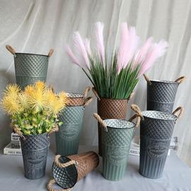 做旧铁桶复古干花花桶花瓶铁艺客厅摆件花店装饰花器欧式美式落地