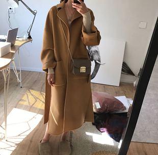 秋冬100%羊毛手工双面羊绒毛呢大衣女中长款茧型宽松加厚外套韩国