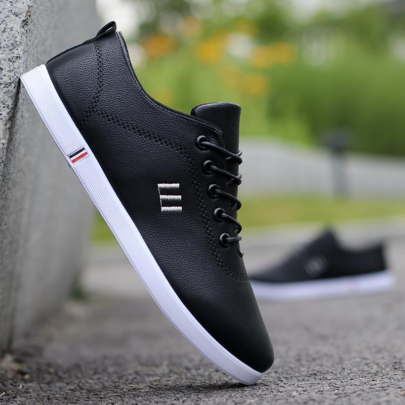 春季男鞋子潮鞋新款休闲皮鞋男士潮流英伦韩版百搭运动板鞋青年鞋