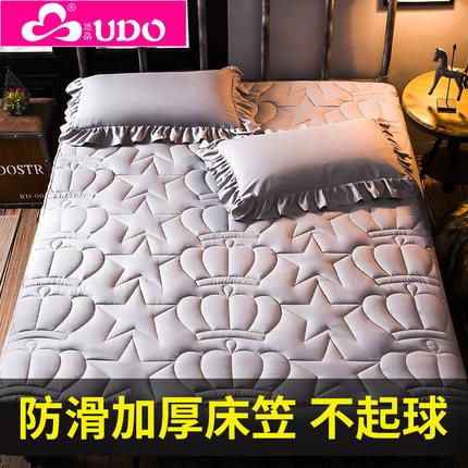 加厚夹棉床笠单件床罩席梦思床垫保护套床套1.8 m1.5床防尘罩防滑