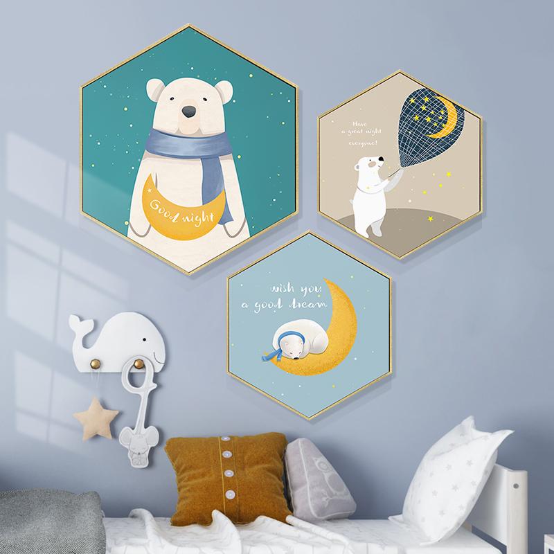 儿童房卡通三联画组合手绘动物墙壁画男女孩房床头挂画北欧装饰画