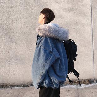 2018潮牌牛仔棉衣男加厚冬季大毛领棉服连帽宽松羊羔毛外套休闲潮