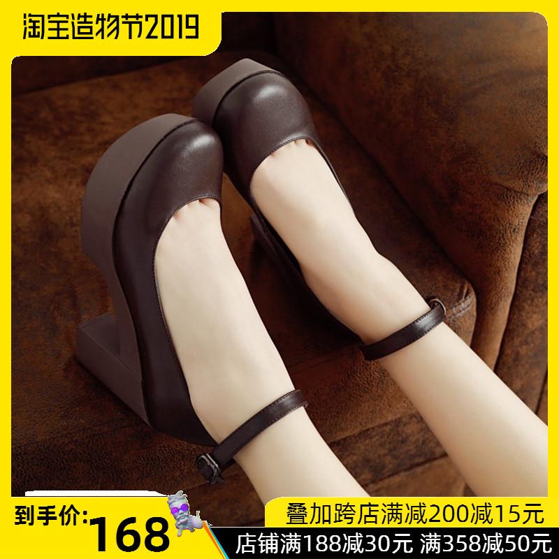 2019秋季小皮鞋女单鞋少女防水台高跟鞋粗跟浅口圆头女鞋工作鞋