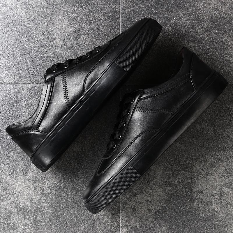 黑色休闲皮鞋男小码休闲鞋冬季男鞋板鞋潮鞋大码鞋子46 47 48 49