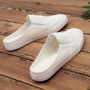 Summer breathable deodorant canvas half slippers couple small white shoes male and female students lazy shoes without heel male shoes tide