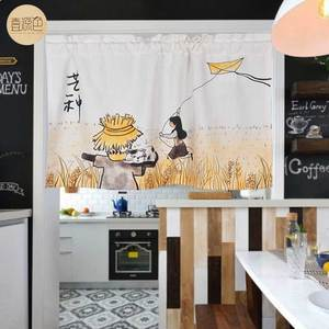 Chinese style pattern ink decoration short curtain home restaurant kitchen porch bedroom hanging curtain cotton linen curtain