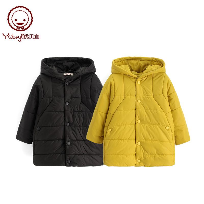 优贝宜 儿童纯色连帽棉服外套中长款 加厚冬季款 宝宝棉袄上衣