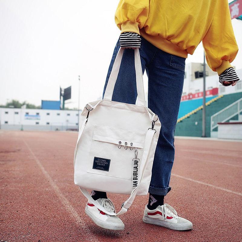 韩版可拆卸肩带文艺百搭斜挎包 手提布包 铁环挂件帆布包女包包袋