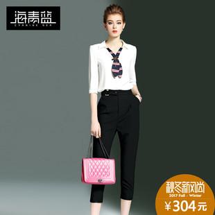 海青蓝2017秋装新款女装职业通勤OL两件套半袖上