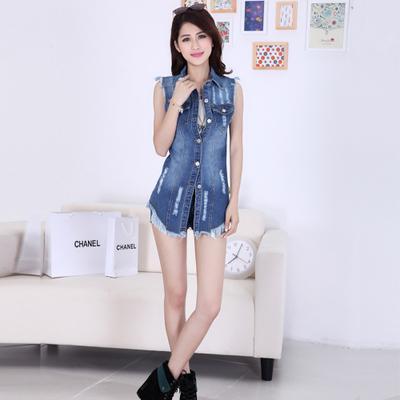 夏季新款女装韩版无袖大码牛仔马甲女夏潮修身中长款马夹外-富裕牛仔服饰-