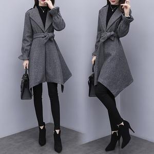 2018秋冬新款韩版宽松大码女装呢子大衣修身显瘦中长款毛呢外套女