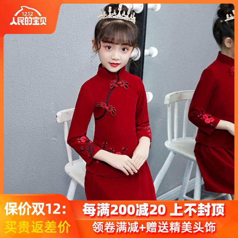 中国风女童旗袍中大童长袖儿童宝宝拜年服唐装女小女孩秋冬新年装