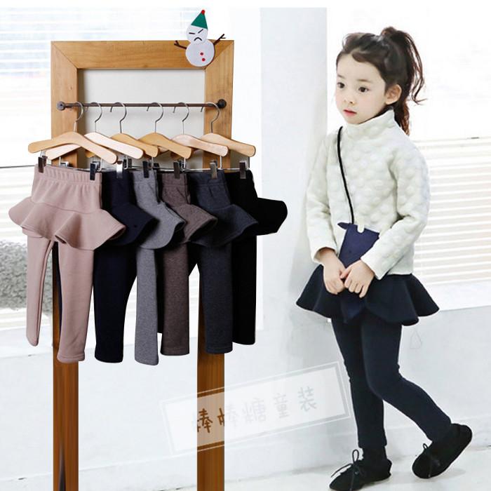 童装中大女童打底裤裙加绒加厚秋冬款纯棉弹力外穿假两件儿童长裤
