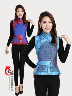 蒙古马甲女士民族风背心短款马夹坎肩修身印花蒙古族服装女装包邮图片