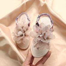 女童公主鞋凉鞋lu4朵夹脚2ft季新式时尚露趾罗马鞋宝宝软底百搭