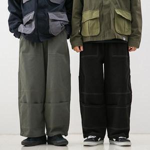 日系bf风中性街头学生宽松裤脚贴袋休闲裤松紧腰直筒工装裤男女