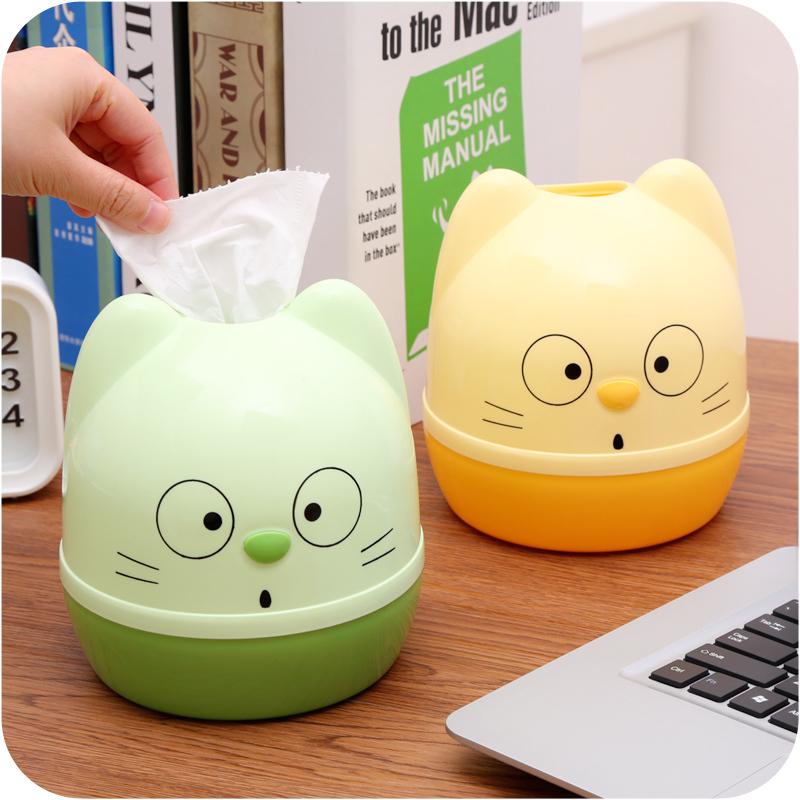 卡通可爱猫咪卷纸筒家用塑料圆形抽纸盒创意客厅厕所纸巾盒纸巾筒
