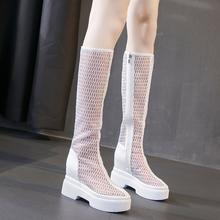 新款高跟网纱靴女(小)个子厚底ci10增高长da高筒凉靴透气网靴