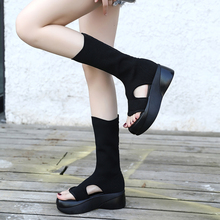 曼三春夏新款zn3趾中筒靴zy空弹力靴百搭显瘦松糕针织露趾靴
