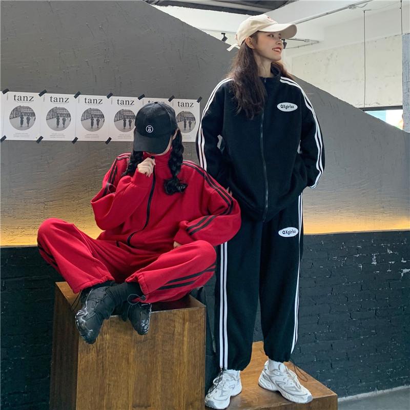 实拍实价时尚休闲洋气宽松加绒卫衣外套+休闲抽绳运动裤-琦炫服饰-