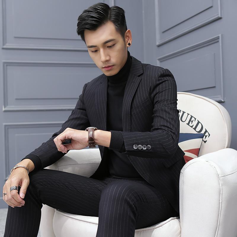 新款韩版修身英伦条纹男士小西装套装秋冬外套单西服休闲夜店潮流