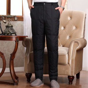Middle-aged and elderly down pants men's thick warmth daddy wear high waist large size trousers cotton pants winter inner pants