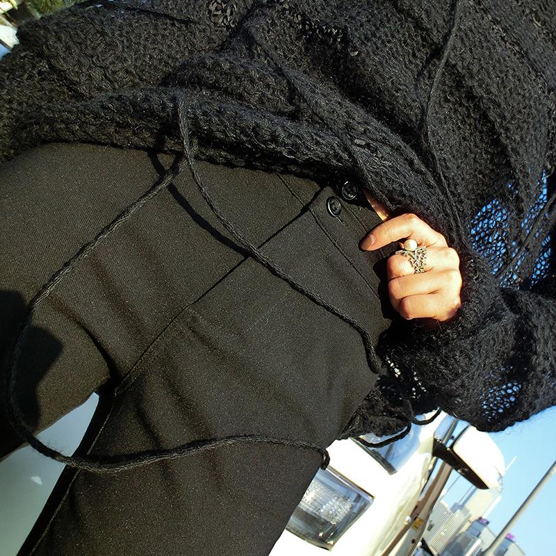 加比Gaby2017秋冬新款女装弹力修身黑色打底裤高腰加绒小脚裤长裤