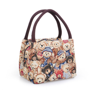 Ladies Small Cloth Bags Women Bags Handbags Canvas Bags Mini Bear Bags Bags Large Capacity Lunch Box Bags Lunch Bags