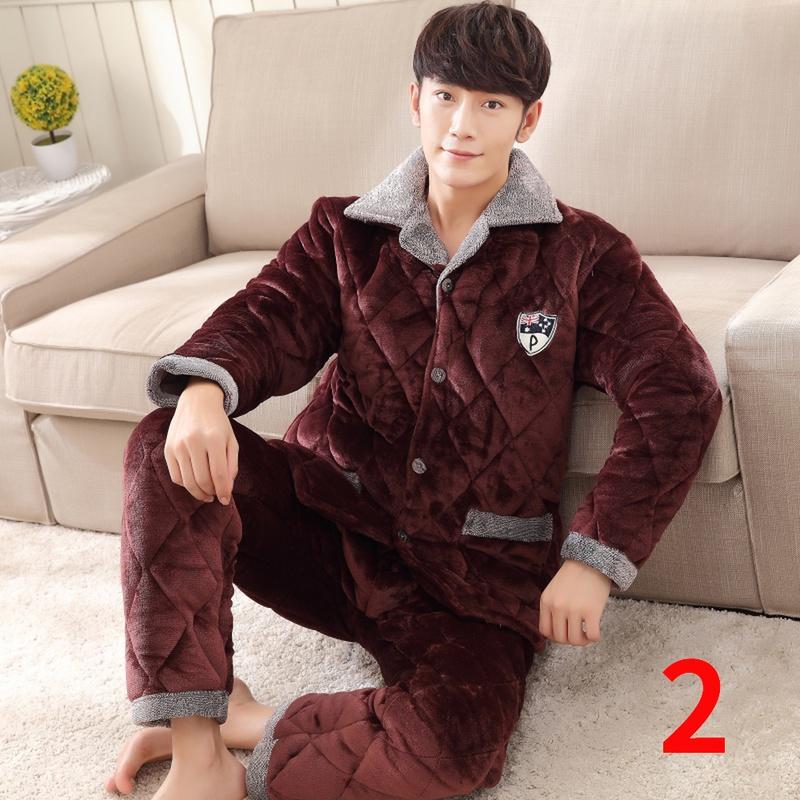 30-40-50-60岁中年青年老年冬季法兰绒加厚三层棉衣男睡衣居家服