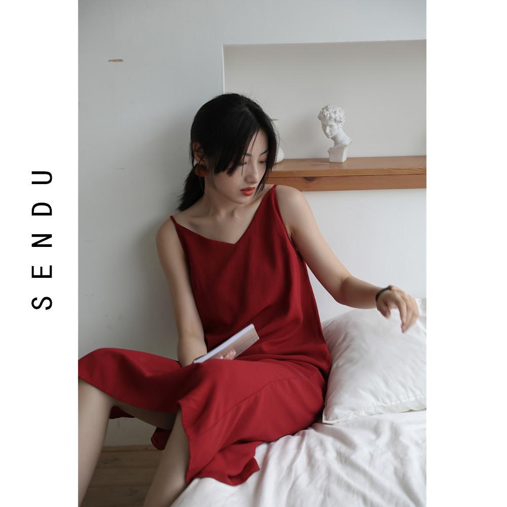 高冷御姐风连衣裙红色V领吊带背心裙女中长款赫本风开叉小红裙子