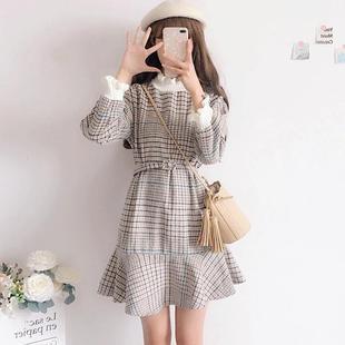 【送腰带】秋冬新款高领连衣裙韩版宽松连衣裙毛呢套