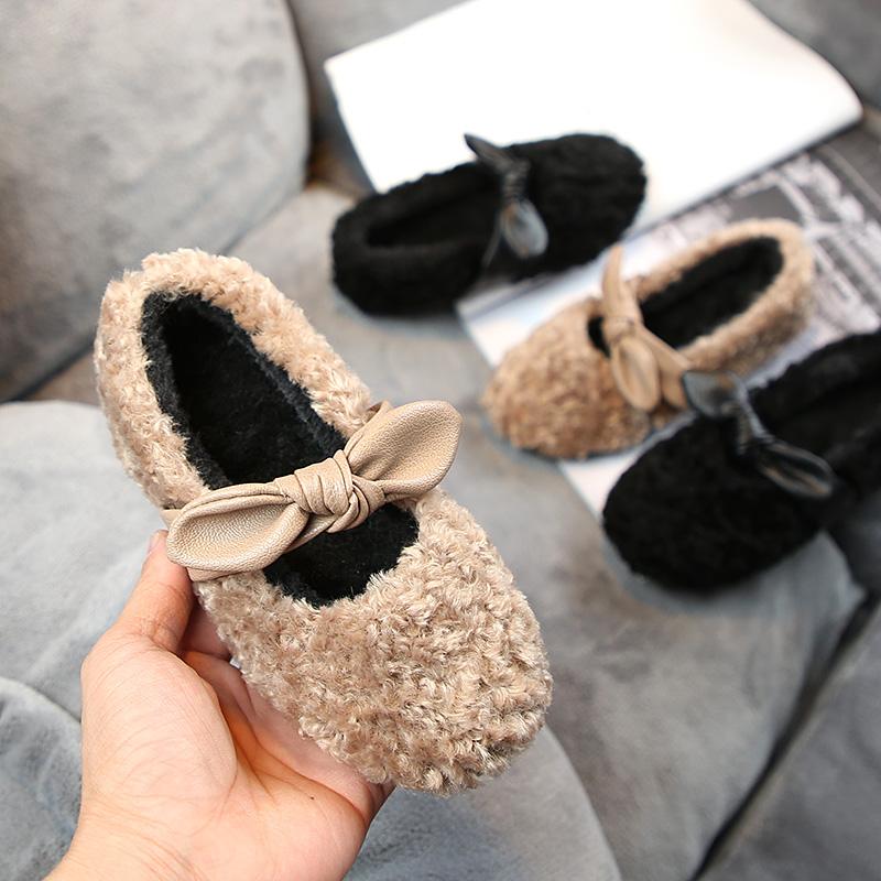 2019新款童鞋女童毛毛鞋儿童豆豆鞋冬加绒公主小童羊羔棉鞋宝宝鞋