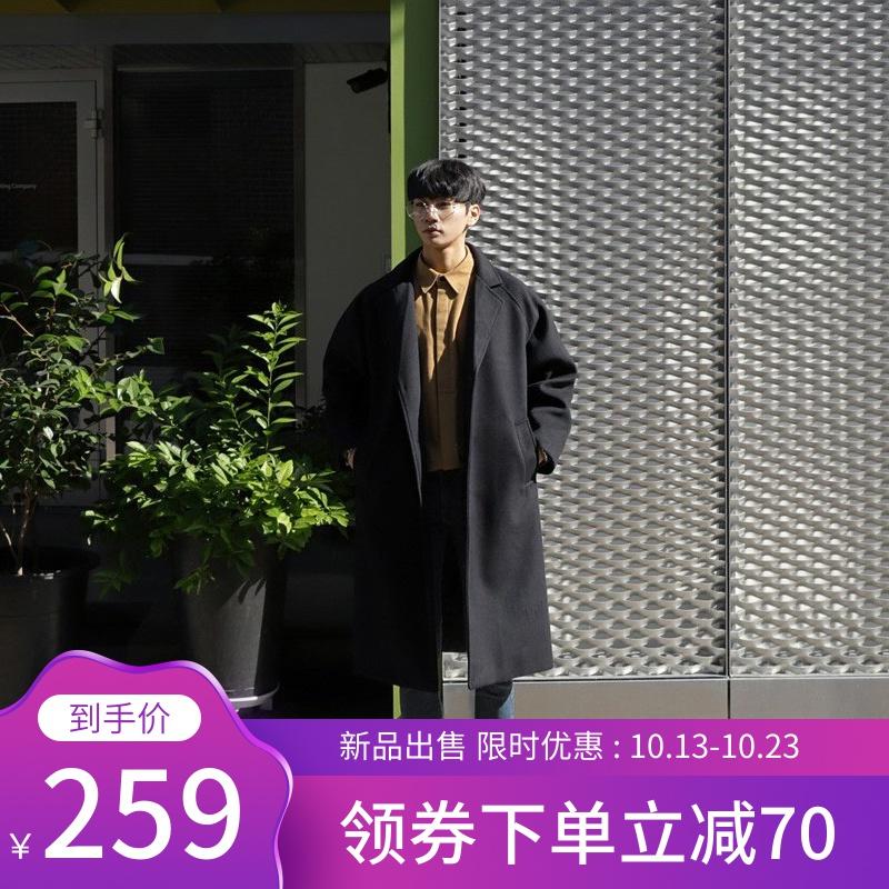 毛呢大衣男士中长款加厚过膝英伦风情侣呢子外套风衣冬季韩版宽松