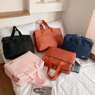 韩版手提行李袋大容量短途旅行包男女外出差行李包防水运动健身包图片