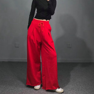 Softball home ~ net red spring and autumn women's big brand was thin terry wide leg pants trousers track pants casual loose